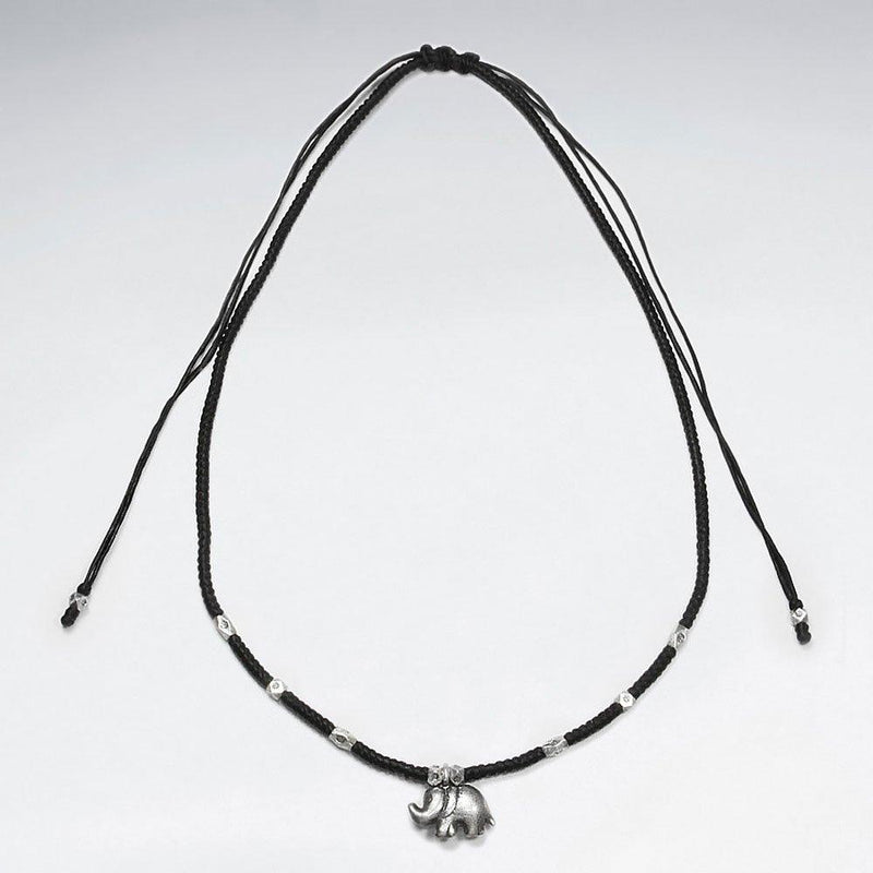 Elephant Necklace Macrame - Sterling Silver Sterling Silver Pendant Roano Collection