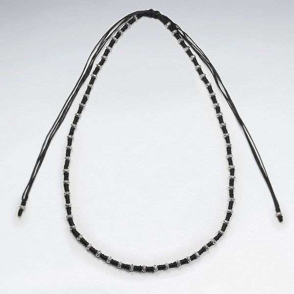 Studded Macrame Necklace - Sterling Silver - Roano Collection