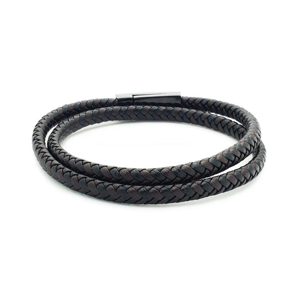 Double Wrap Genuine Bracelet In Black & Brown - Roano Collection