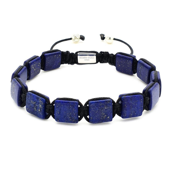 Blue Square Beaded Bracelet - Roano Collection - lapis-lazuli
