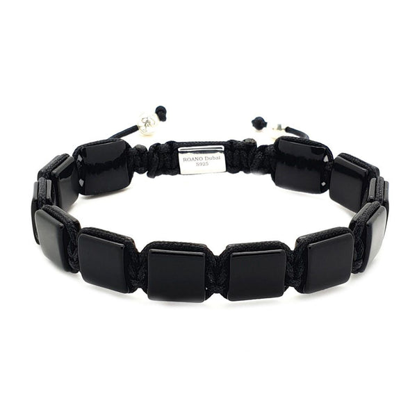 Black Square Beaded Bracelet- Roano Collection - onyx