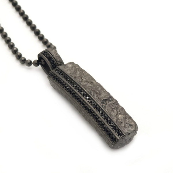 Men Hammered Tag Necklace – Sterling Silver Black Pendant - Roano Collection