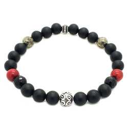 Matte Onyx, Red Coral, Pyrite Bracelet - Sterling Silver - Roano Collection
