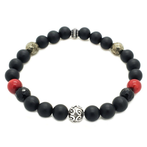 Matte Onyx, Red Coral, Pyrite Bracelet - Sterling Silver Beaded bracelet men bracelet women bracelet Roano Collection