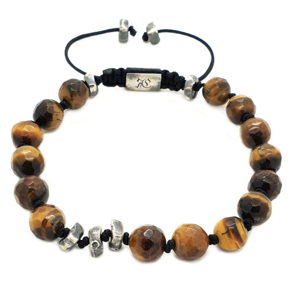 Rock and Square Bracelet - Sterling Silver Beaded bracelet men bracelet women bracelet Roano Collection tiger-eye
