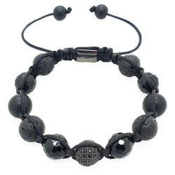 Matte Onyx with Lava Stones Shamballa Beaded bracelet - Roano Collection
