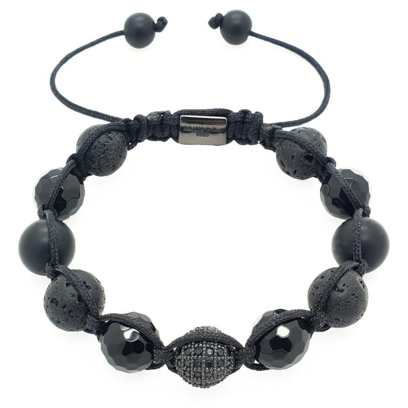 Onyx with Lava Stones Shamballa bracelet - Roano Collection