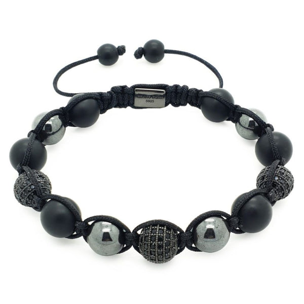 Hematite, Matte Onyx with Black CZ Shamballa Bracelet - Roano Collection