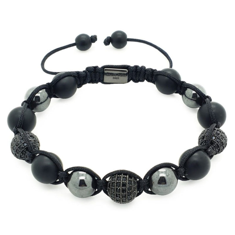 Hematite, Onyx Beaded Shamballa Bracelet - Roano Collection