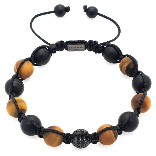 Tiger Eye And Matte Onyx Stones Shamballa Bracelet - Roano Collection
