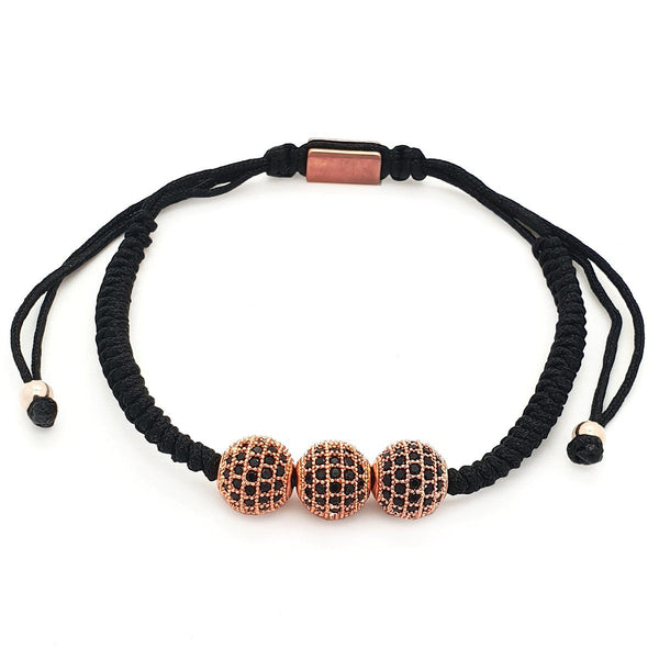 Simple Triple Disco Ball Cubic Zirconia Macrame women bracelet men bracelet macrame bracelet Roano Collection rose-gold