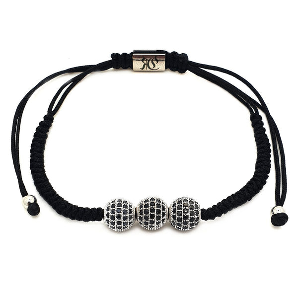 Simple Triple Disco Ball Cubic Zirconia Macrame women bracelet men bracelet macrame bracelet Roano Collection white-gold