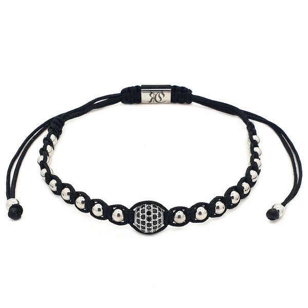 Stranded Diamond Ball Macrame women bracelet men bracelet macrame bracelet Roano Collection white-gold