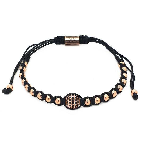 Stranded Diamond Ball Macrame women bracelet men bracelet macrame bracelet Roano Collection rose-gold
