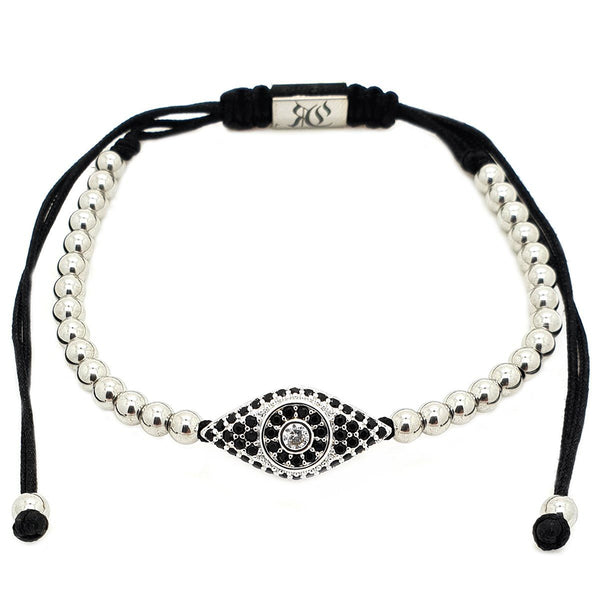 Evil Eye Macrame Bracelet - Roano Collection - white-gold