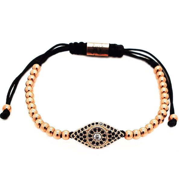 Evil Eye Macrame Bracelet - Roano Collection - rose-gold