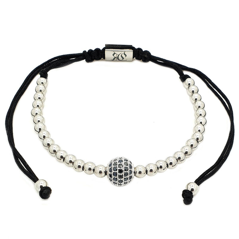 Zirconia Diamond Ball Macrame Bracelet women bracelet men bracelet macrame bracelet Roano Collection white-gold