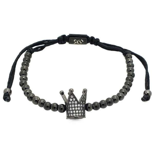 Zirconia Crown Macrame Bracelet - Roano Collection