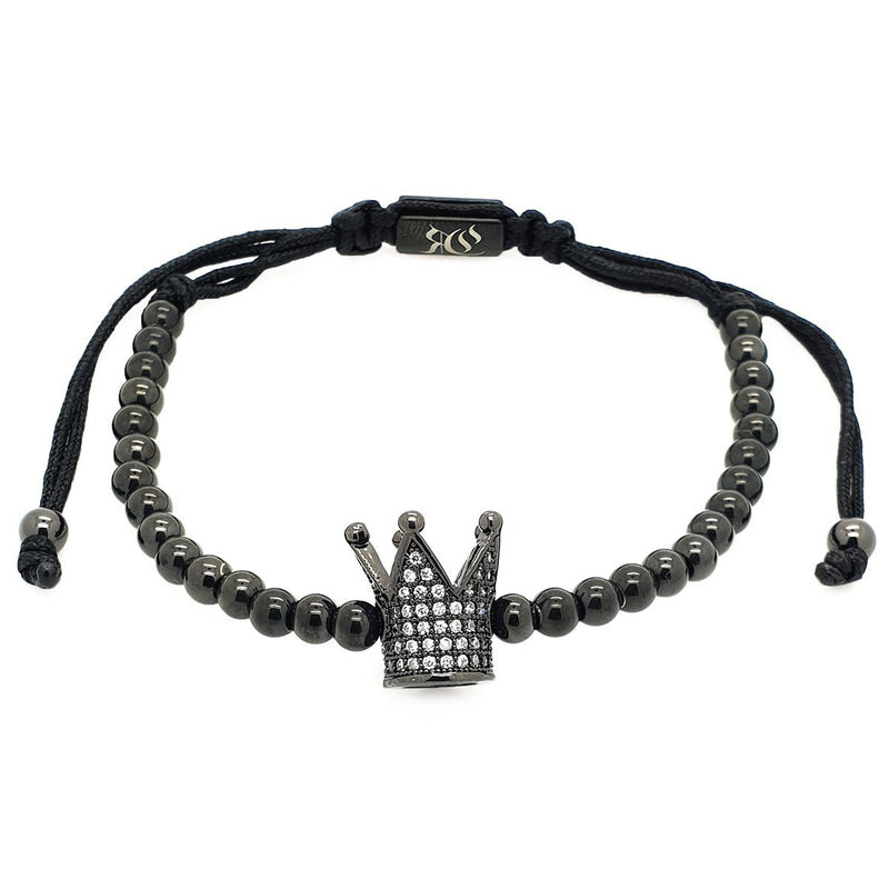 Zirconia Crown Macrame Bracelet women bracelet men bracelet macrame bracelet Roano Collection rhodium