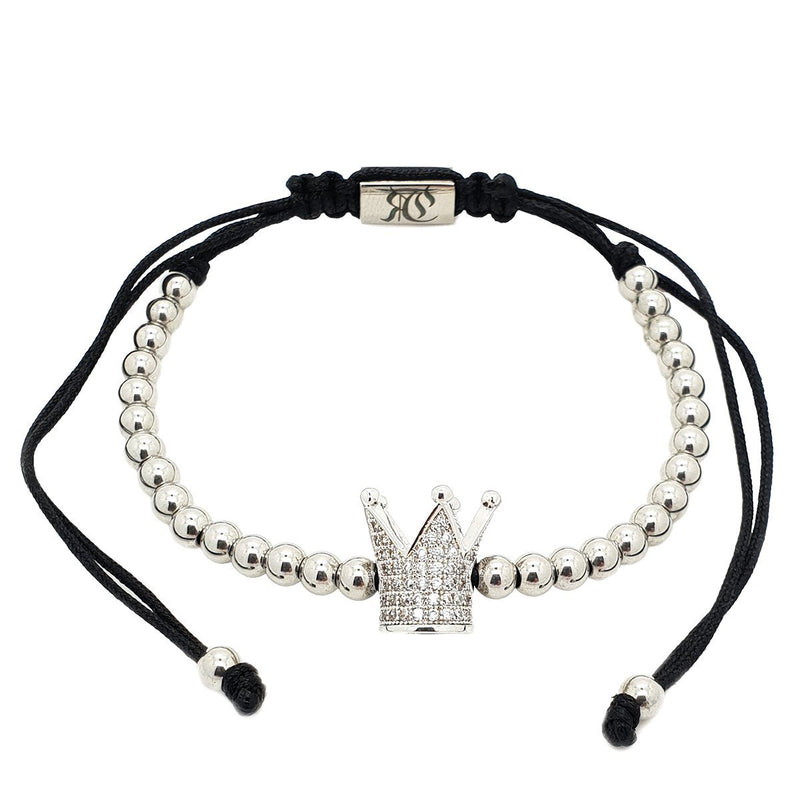 Zirconia Crown Macrame Bracelet women bracelet men bracelet macrame bracelet Roano Collection white-gold