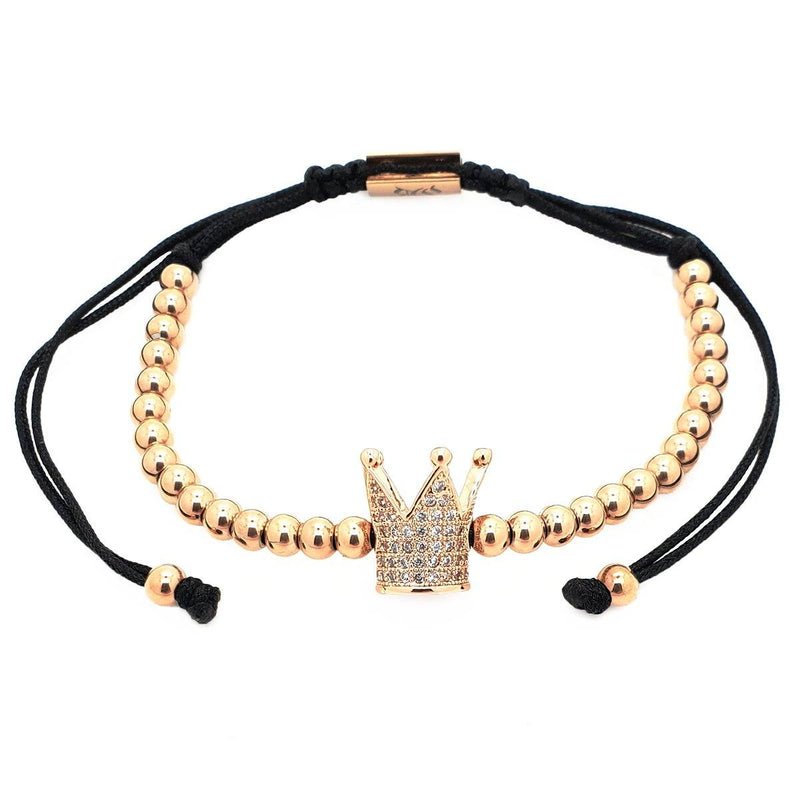 Zirconia Crown Macrame Bracelet women bracelet men bracelet macrame bracelet Roano Collection rose-gold