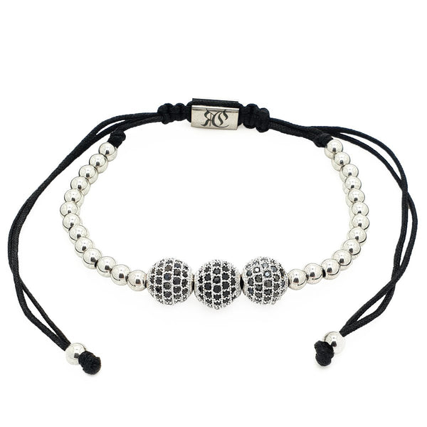 Triple Cubic Zirconia Disco Ball Macrame women bracelet men bracelet macrame bracelet Roano Collection white-gold