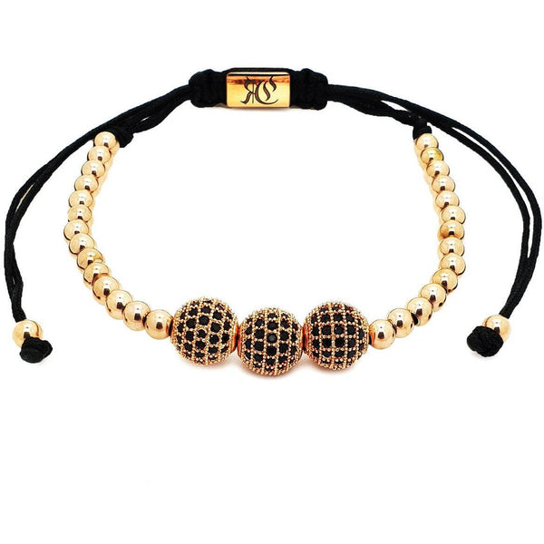 Triple Cubic Zirconia Disco Ball Macrame women bracelet men bracelet macrame bracelet Roano Collection rose-gold