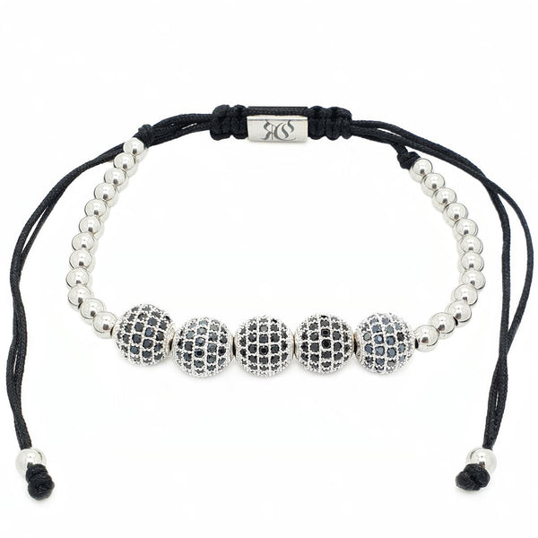 Five Diamond Disco Ball Macrame bracelet- Roano Collection - white-gold