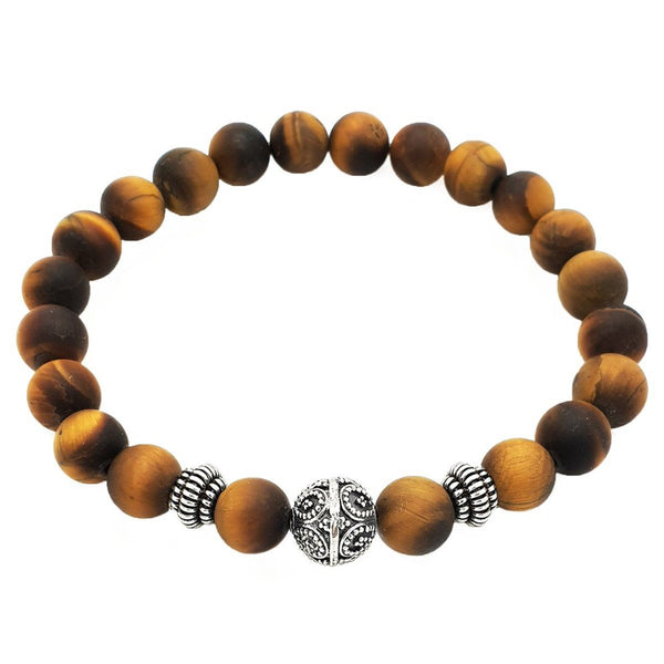 Elegant Matte Tiger Eye Beaded Bracelet - Roano Collection