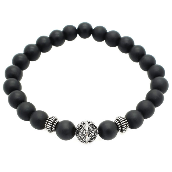 Elegant Matte Onyx Beaded Bracelet - Roano Collection