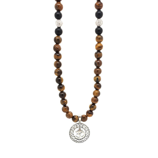 Om Tiger Eye Stones Shamballa Necklace - Sterling Silver Beaded Necklaces Roano Collection
