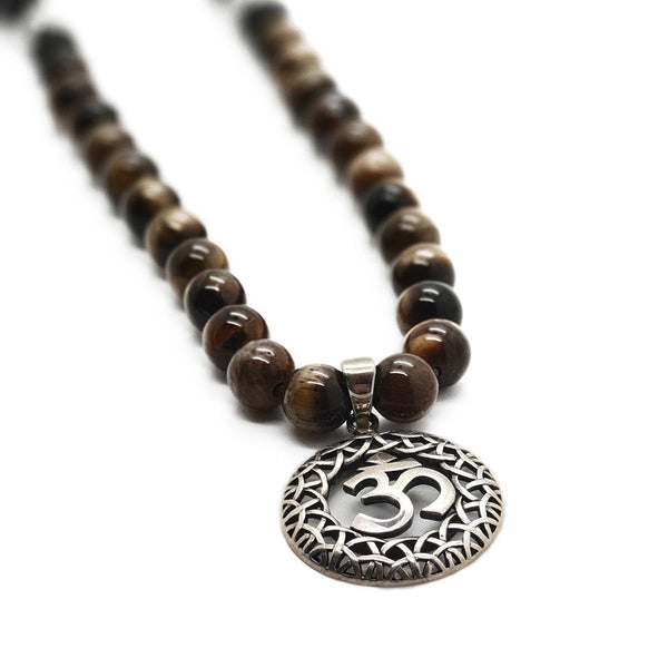 OM tiger eye men's necklace