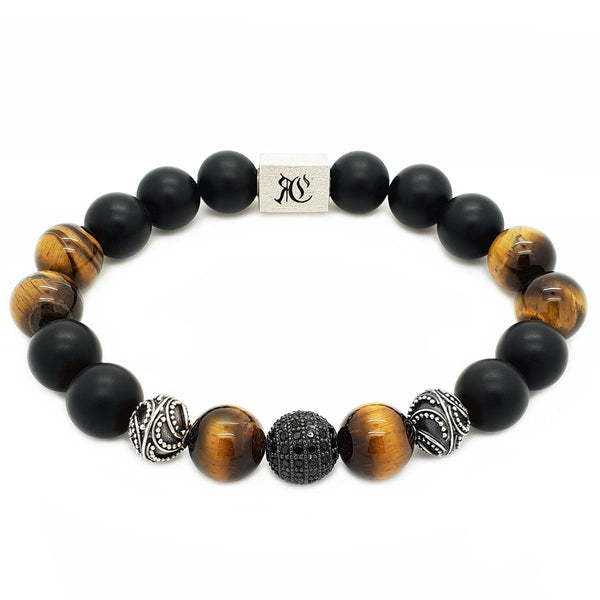 Elegant Tiger Eye and Onyx Bracelet - Men Sterling Silver Bracelets Online