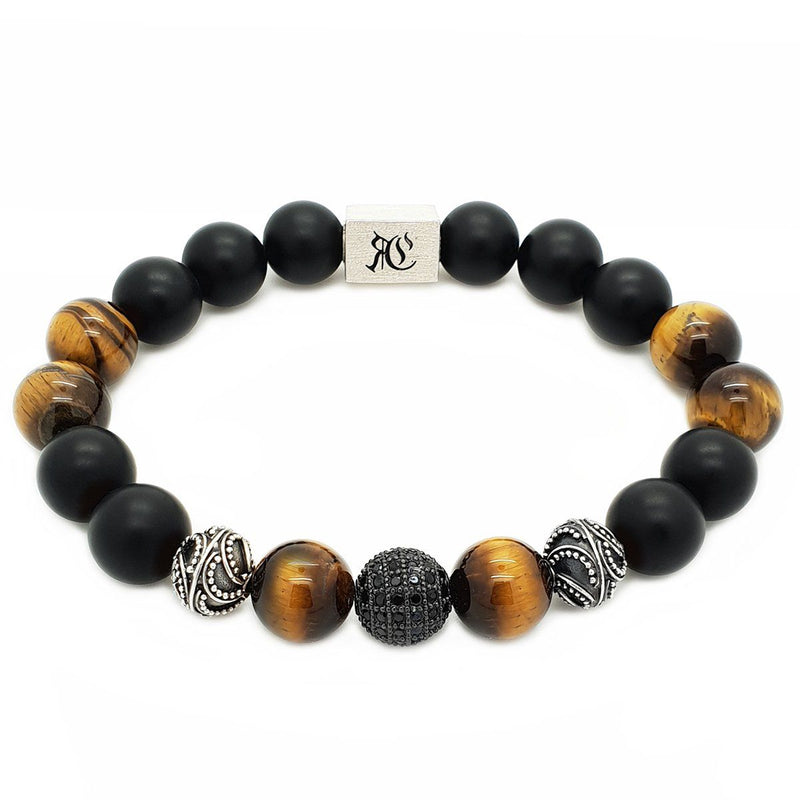 Big Elegant Stones and Black Onyx Men Bracelet - Sterling Silver Beaded bracelet men bracelet women bracelet Roano Collection S (15-16 CM) tiger-eye