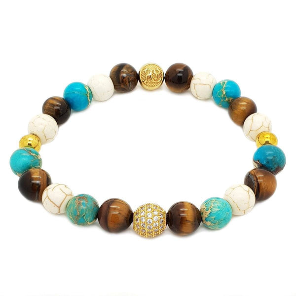 Women's Mix Sea Sediment, Tiger Eye & Howlite Beaded Bracelet