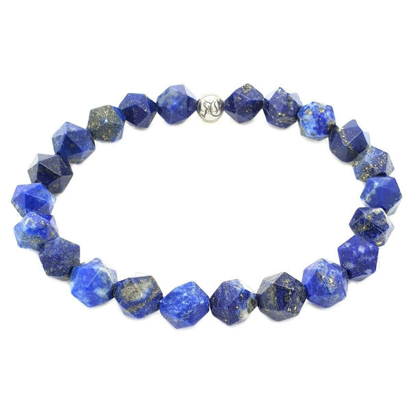 The Diamond Cut Simple Stones Bracelet Beaded bracelet men bracelet women bracelet Roano Collection XS (13-14 CM) lapis-lazuli