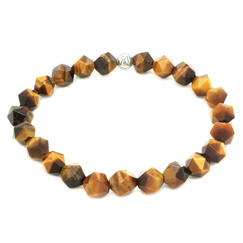 The Diamond Cut Simple Stones Bracelet Beaded bracelet men bracelet women bracelet Roano Collection XS (13-14 CM) tiger-eye