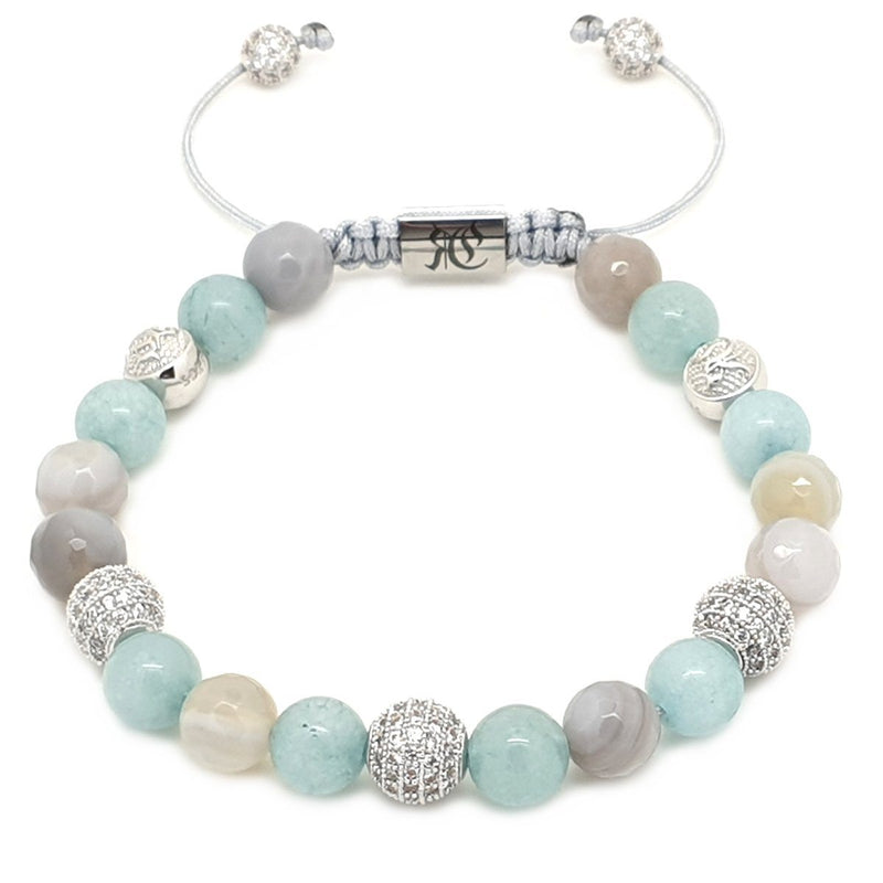 Women's Beaded Bracelet Aquamarine, Agate & Silver Beaded bracelet men bracelet women bracelet Roano Collection