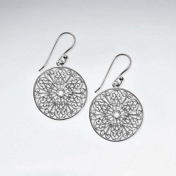 Round Cut Pattern Dangle Earrings - Sterling Silver Sterling Silver Earrings Roano Collection