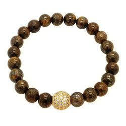 Classic Bronzite & Gold Beaded Bracelet Roano Collection XS (13-14 CM)