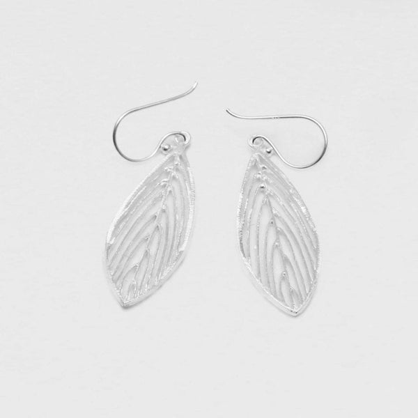 Perforated Feather Earrings - Sterling Silver Sterling Silver Earrings Roano Collection