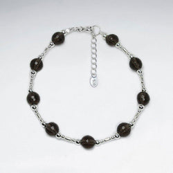 Round Smoky Quartz Beads Bracelet