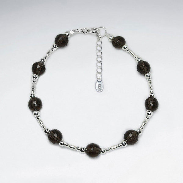 Round Smoky Quartz Beads Bracelet - Sterling Silver - Roano Collection