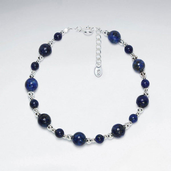 Delicate Lapis Lazuli Bracelet - Sterling Silver - Roano Collection