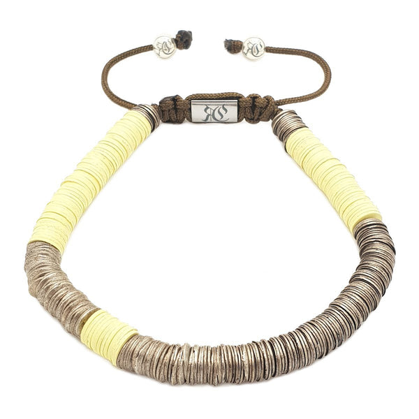 The Ghana Bracelet - Vinyl Heishi Beads Beaded bracelet men bracelet women bracelet Roano Collection Yellow