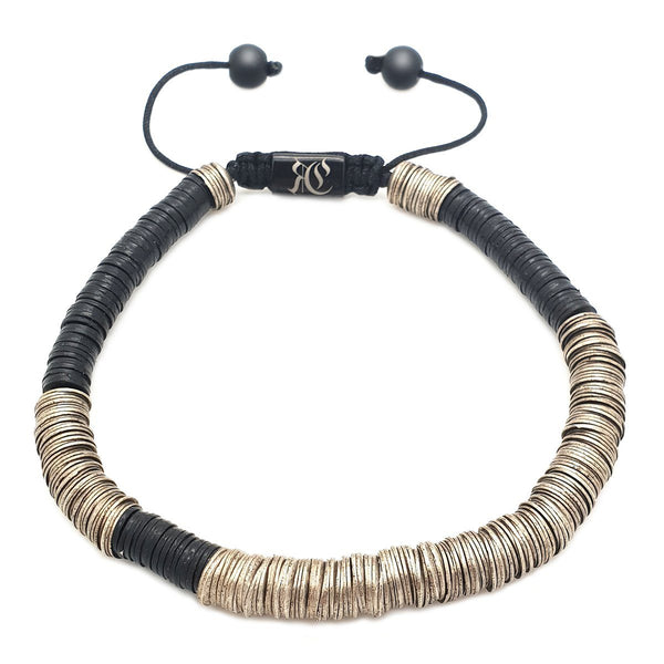 The Ghana Bracelet - Vinyl Heishi Beads Beaded bracelet men bracelet women bracelet Roano Collection Black