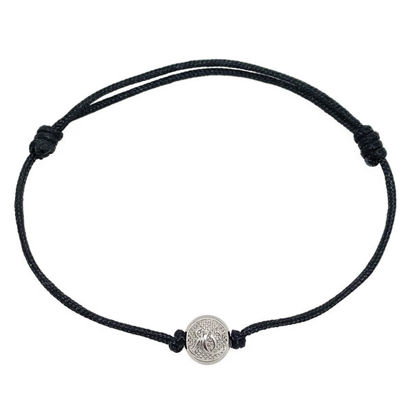 Black Cord Bracelet with Silver