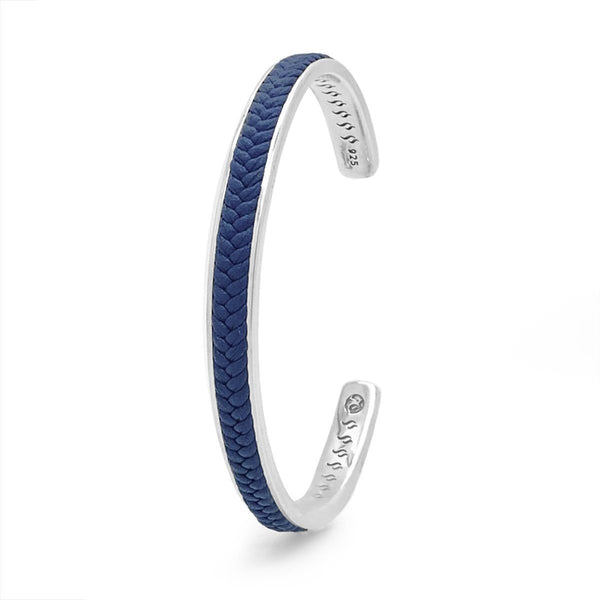 Blue Leather Silver Cuff Bracelet Leather Bracelet Roano Collection