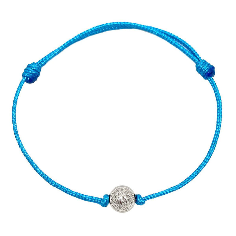 Blue Cord Bracelet with Silver