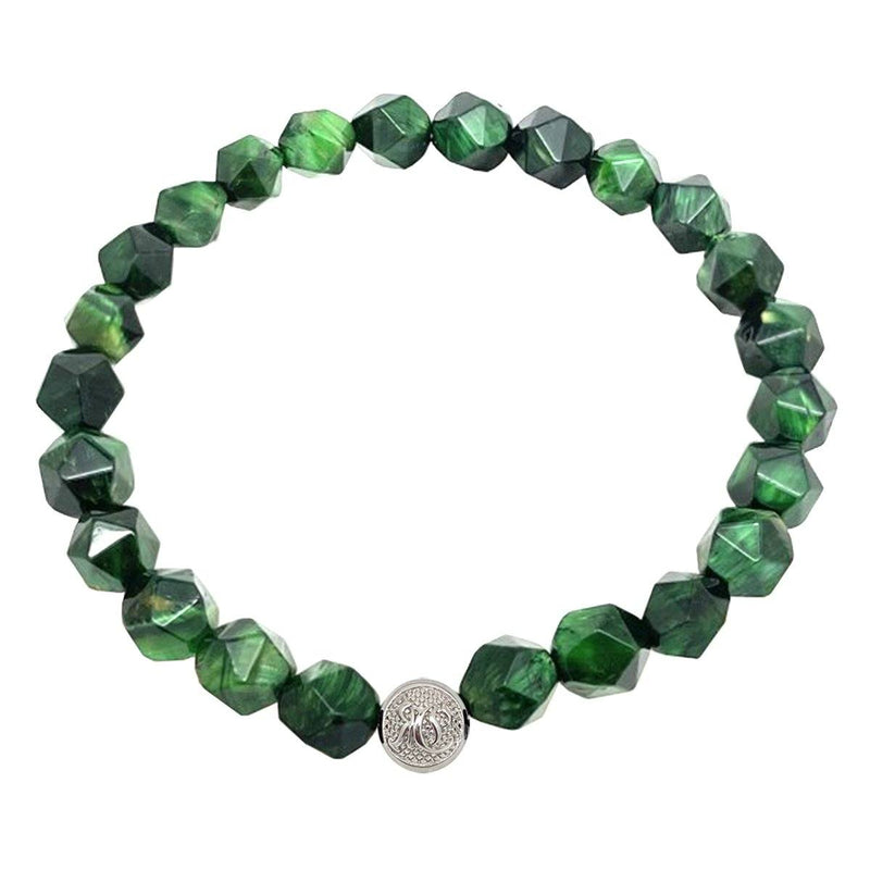 Diamond-Cut Green Bracelet - Silver Roano Collection